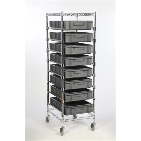 Euro Chrome Wire Container Carts