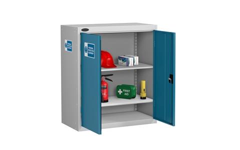 Low PPE Cabinet   Silver Grey Body/Blue Doors   H1015mm X W915 X D460