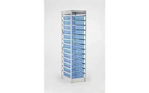 HTM71 Healthcare Storage Module H1850mm x W400mm x D600mm c/w 13 off H100mm x W400mm x D600mm Light Blue Baskets