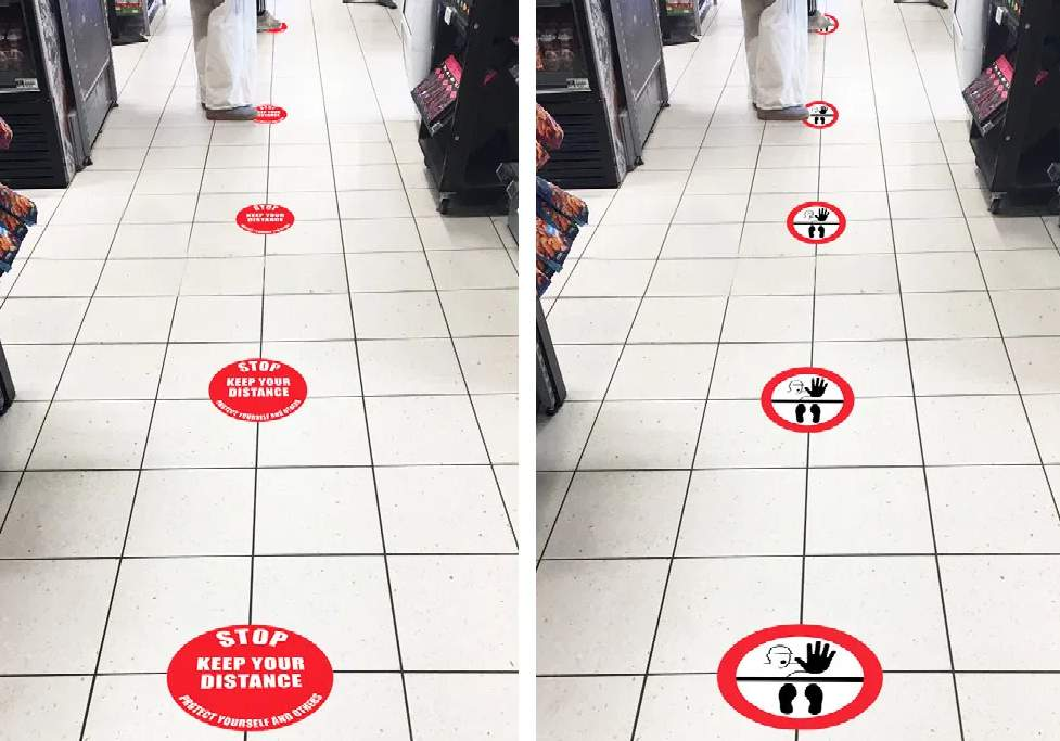 Social Distance Marker on tiles
