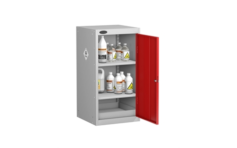 Small Toxic Cabinet Silver Grey Body Red Doors H890mm X W460mm D460mm